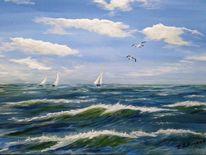 Acrylmalerei, Ostsee, Welle, Wolken