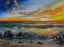 Welle, Malerei, Strand, Meer