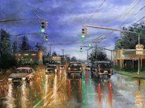 Landschaft, Auto, Zeichnung, Licht