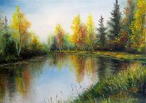 Wald, Natur, Herbst, Malerei