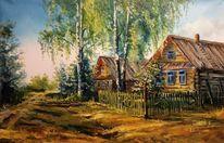 Russland, Brücke, Malerei, Dorf