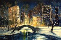Landschaft, Brücke, Zeichnung, Winter