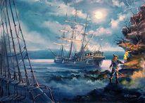 Pirat, Strand, Schief, Insel