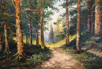 Malerei, Wald, Landschaft, Zeichnung