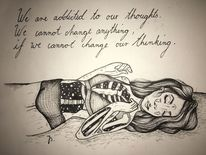 Frau, Mädchen, Addicted, Zeichnung