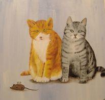 Katze, Böse, Maus, Malerei