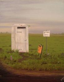 Toilette, Abend, Weg, Malerei