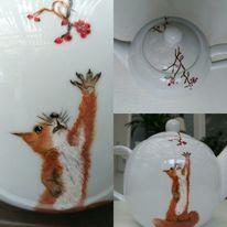 Malerei, Eichhörnchen, Porzellan, Meins