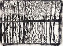 Nebenbeigekritzel, Spiegelung, Linolschnitt, Natur