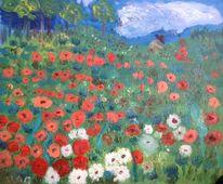Kinder, Blumenwiese, Wolken, Malerei