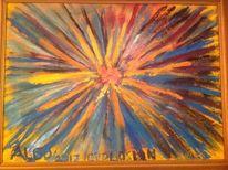 Explosion, Glühend, Feuer, Malerei