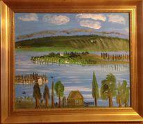 Malerei, See, Berge, Spiegelung