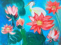Wasser, Blumen kranich, Rot, Malerei