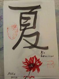 Rote lotosblüten, Chinesische schriftzeichen, Schwarze tusche, Roter stempel