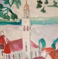 Überlingen, Aquarellmalerei, Ansicht am bodensee, Landschaft