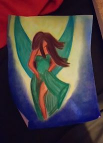 Grün, Herz, Glück, Pastellmalerei
