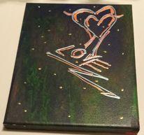 Herz, Braun, Gold, Acrylmalerei
