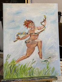 Ölmalerei, Oben, Lebensfreude, Mädchen