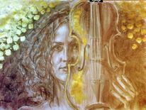 Portrait, Viola, Gold, Zeichnungen