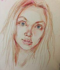 Portrait, Studie, Zeichnung, Pastellmalerei