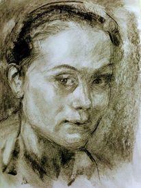 Portrait, Zeichnung, Seitenblick, Zeichnungen