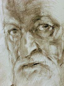 Seitenblick, Selbstportrait, Kohlezeichnung, Zeichnung