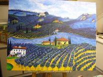 Olivenbaume, Landschaft, Toskana, Malerei