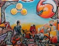 Mann, Symbolik, Sonne, Ölmalerei