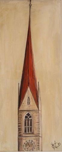 Acrylmalerei, Kirche, Turm, Südtirol