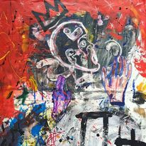 Abstrakt, Acrylmalerei, Nacht, König