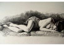 Frau, Bein, Felsen, Figural