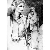 Mädchen, Zeichnung, Koatüm, Frau