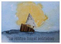 Edelholz poliert, Maritime skulptur, Maritimes bild, Aquarellmalerei