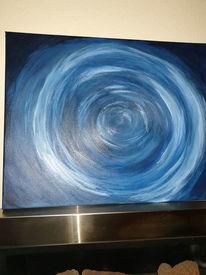 Malerei abstrakt, Leuchtend, Blau, Wurmloch
