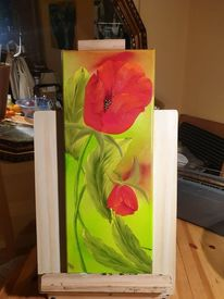 Ölmalerei, Rot, Nass in nass, Mohn