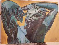 Türkis, Statue, Acrylmalerei, Figural