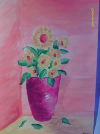 Strauß, Acrylmalerei, Farben, Rot