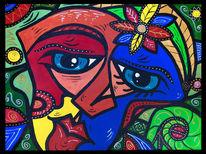 Gesicht, Abstrakt, Frau, Malerei