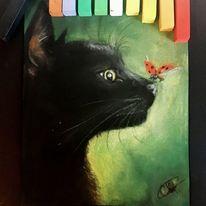 Katze, Marienkäfer, Tiere, Malerei