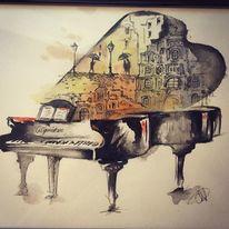 Flügel, Klavier, Stadt, Aquarell