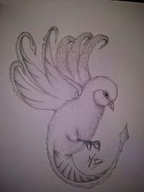 Fantasie, Bleistiftzeichnung, Zeichnung, Vogel