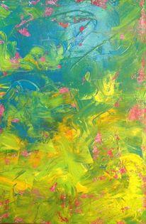 Grün, Wasser, Malerei, Pink