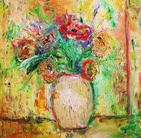 Bunt, Blumen, Vase, Pastellmalerei