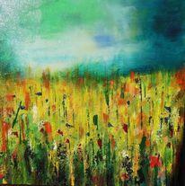 Blumen, Wiese, Landschaft, Malerei