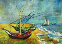 Wasser, Natur, Malerei, Fischerboote am strand