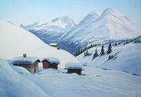 Berge, Schnee, Winter, Aquarell