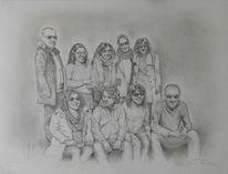 Bleistiftzeichnung, Menschen, Gruppenbild, Zeichnung