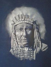 Indianer, Portrait, Häuptling, Pastellmalerei