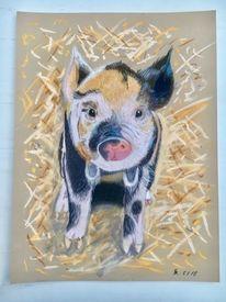 Pastellmalerei, Ferkel, Tiere, Schwein