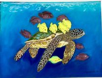 Grün, Pastellmalerei, Meeresschildkröte, Wasser